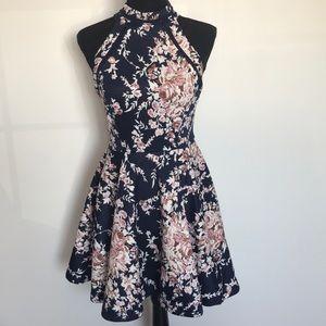 B Darlin Mock-Neck Crochet-Trim Fit & Flare Dress